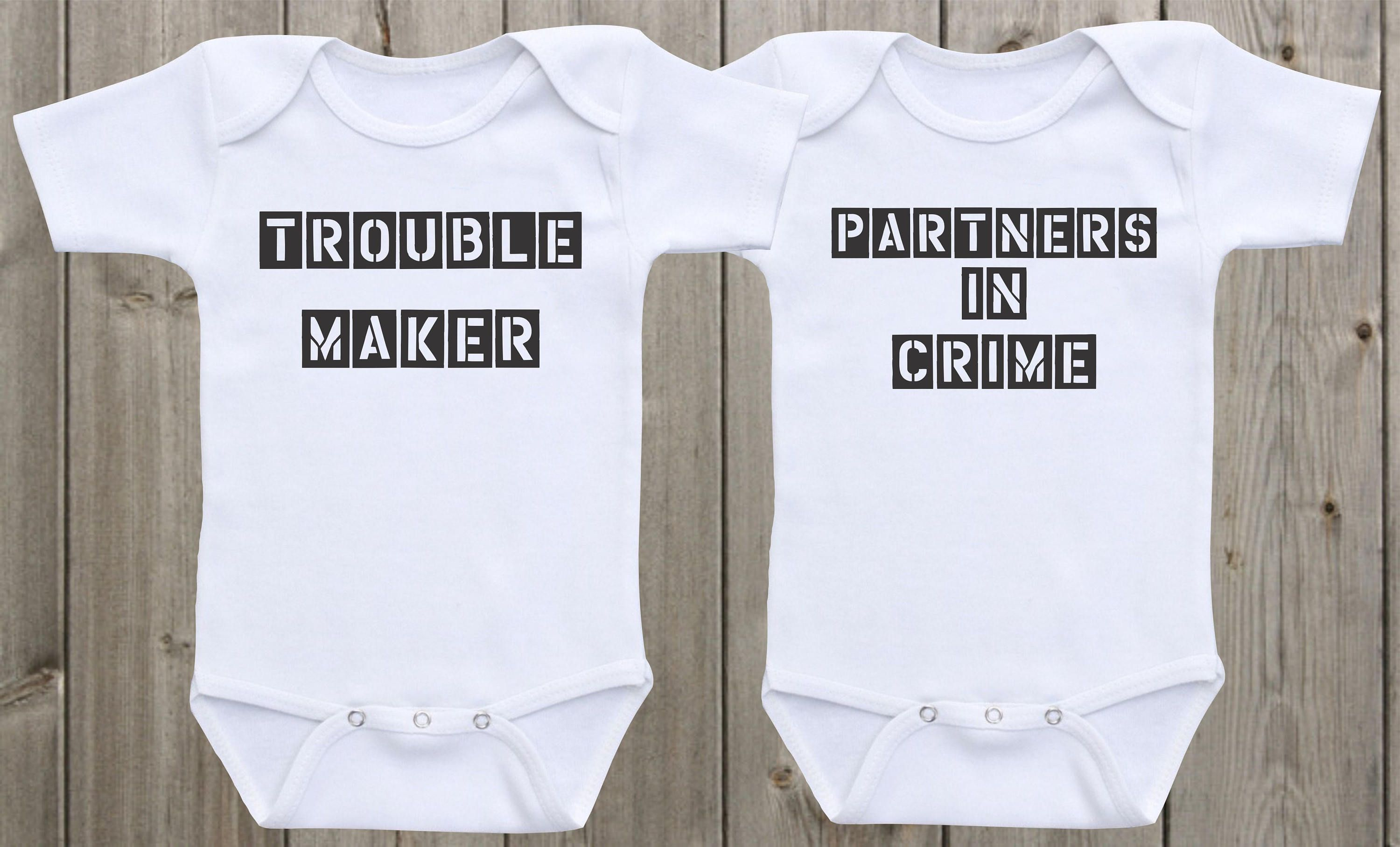 Twin Baby esies Trouble Maker Partners in Crime Baby Shirts Funny