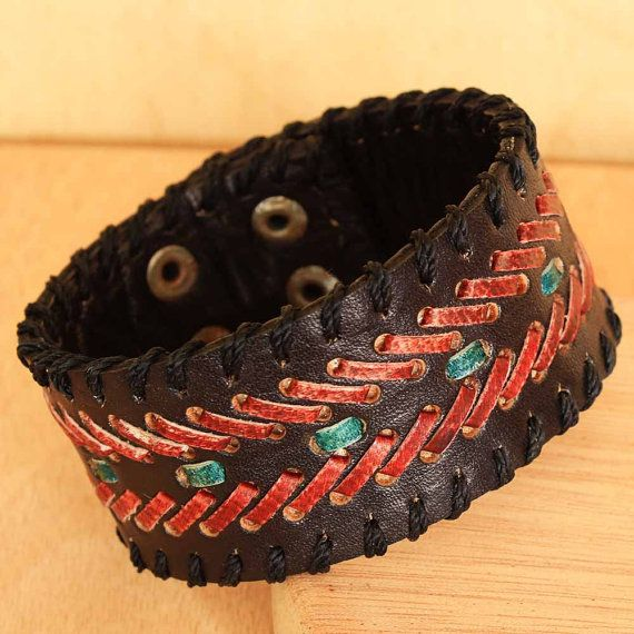 Red Blue and Black Leather Cuff for Men by ArtisansintheAndes