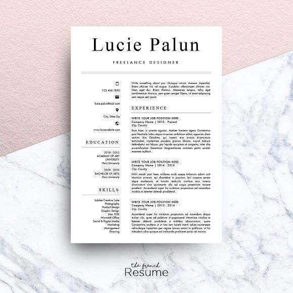 Modern CV MS Word Lucie By The French Resume On Graphicsauthor