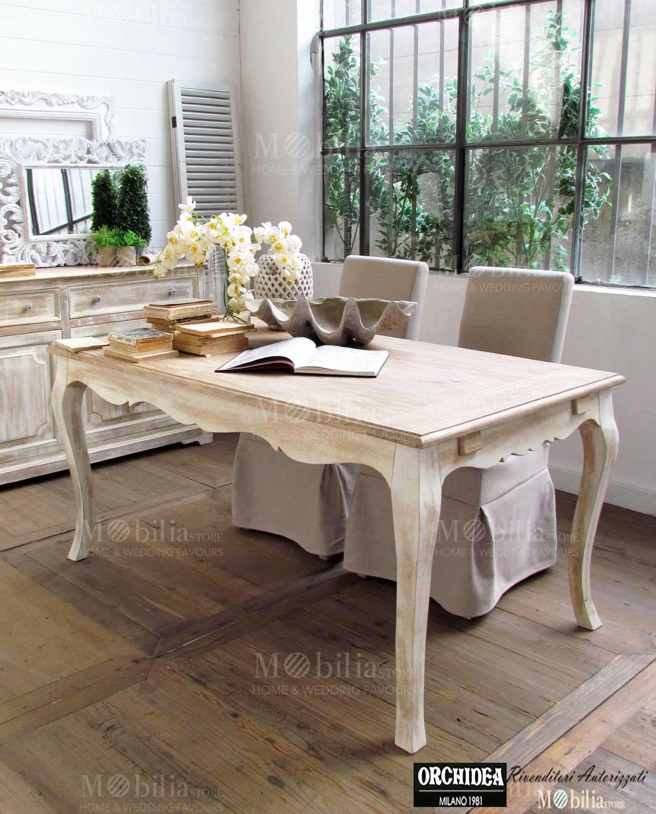 Raffinato tavolo in legno di mango rettangolare - Tavolo shabby chic ...