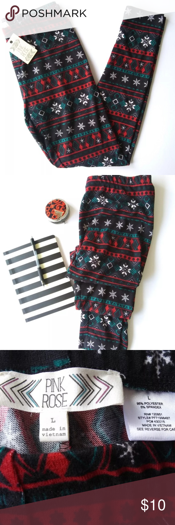 b87ed45736796a NWT Christmas Leggings fair isle snowflake size L These super cute fair  isle snowflake print leggings are so soft! They're made with a polyester  and spandex ...