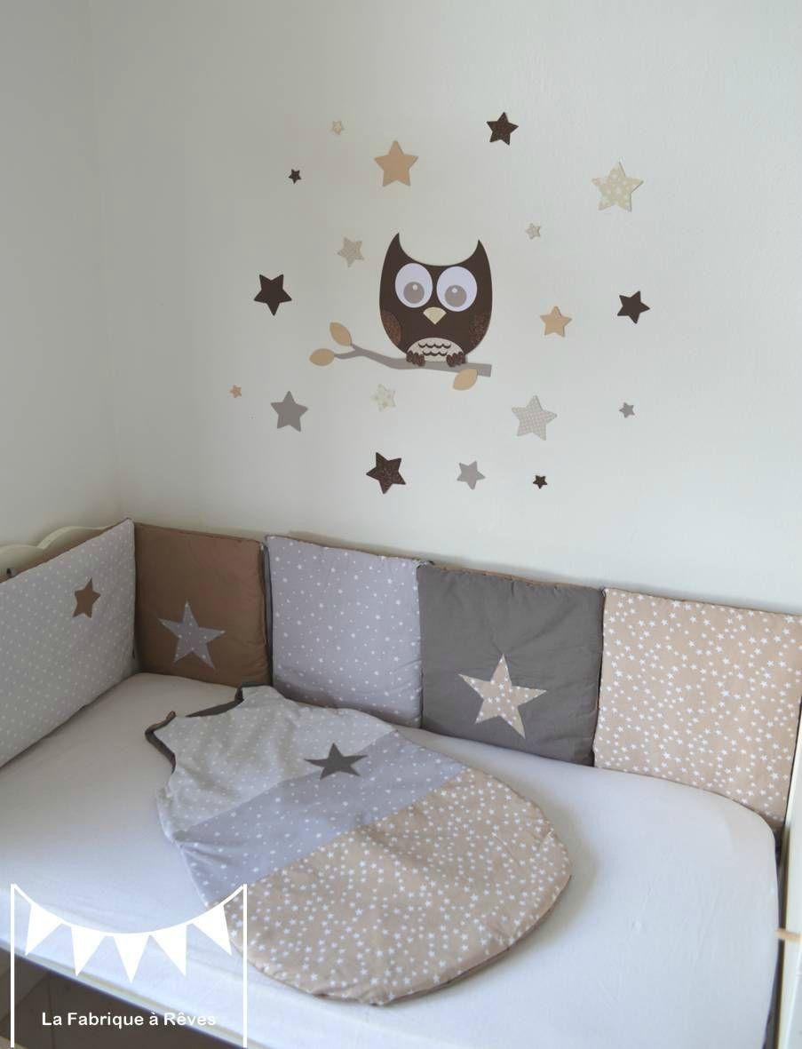 étoiles gris beige taupe décoration chambre bébé mixte étoiles ...