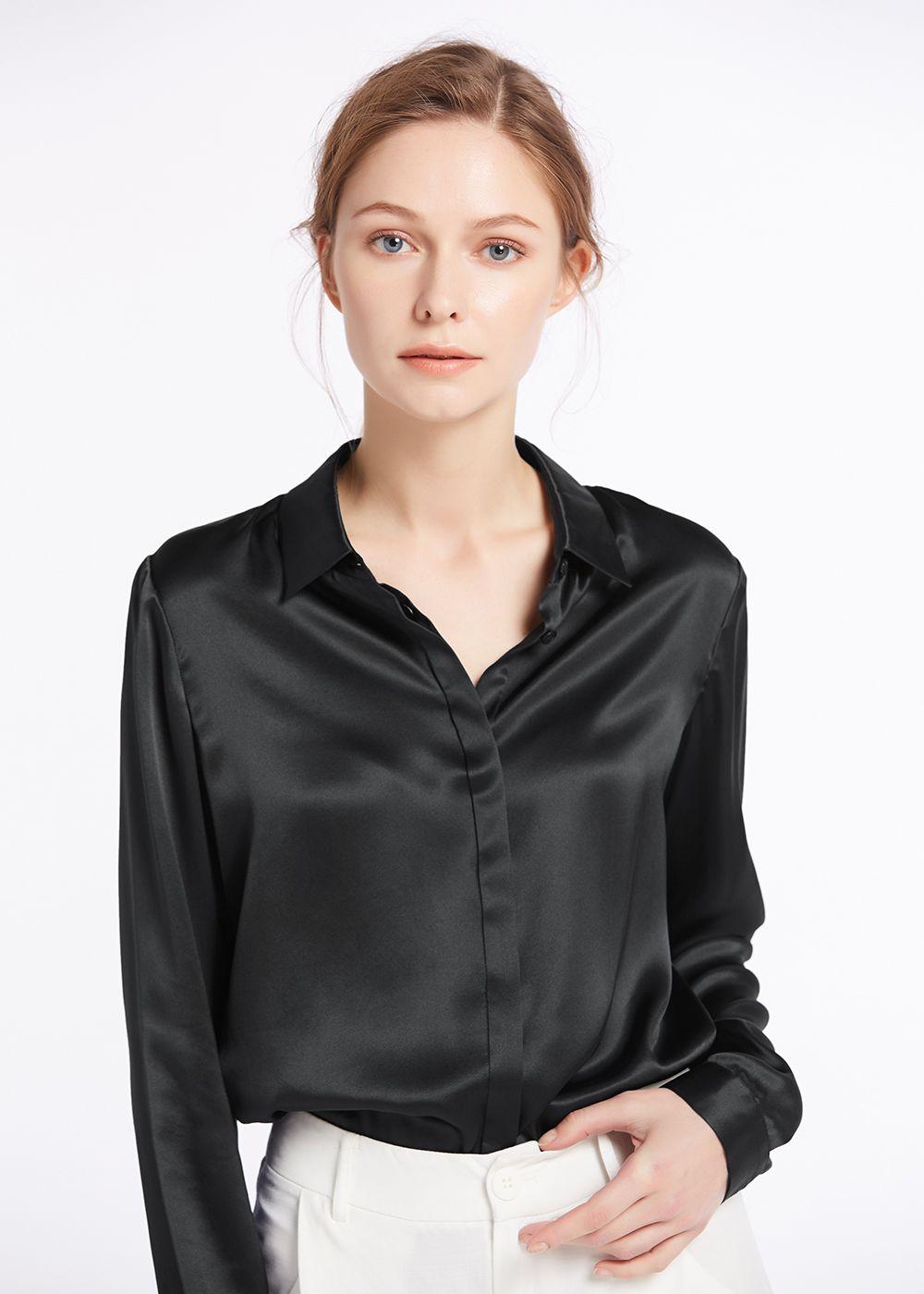 563db3a8c37baa Basic Concealed Placket Silk Shirts   silk shirt   Shirts, Silk ...