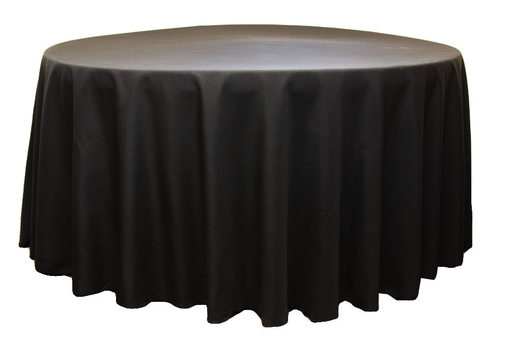 Polyester 120 Quot Round Tablecloth Black In 2019