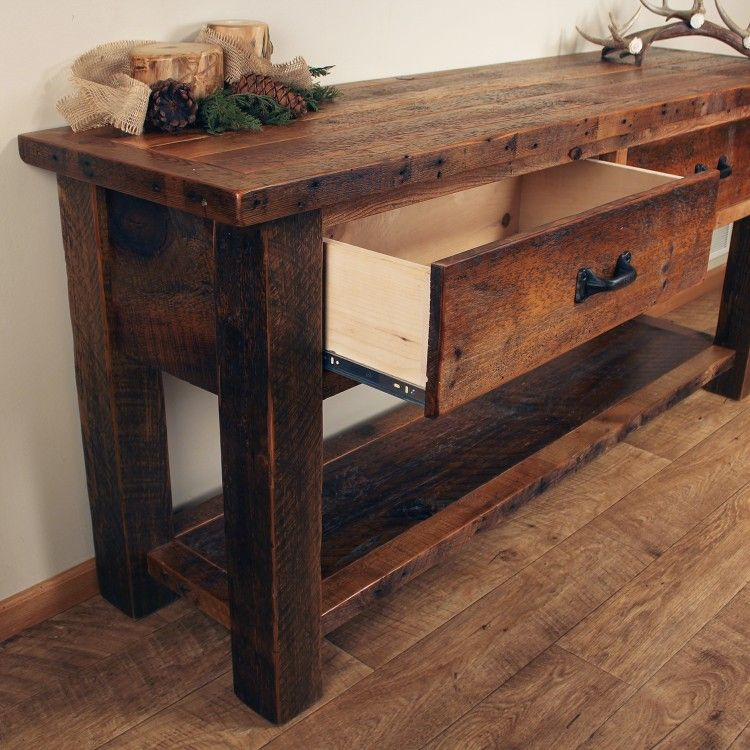 Old Sawmill Timber Frame Sofa Table Wood Sofa Table Sofa Table With Drawers Diy Wood Projects Furniture