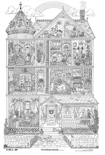 Doodle Art Victorian House Coloring Page Poster B W Coloring
