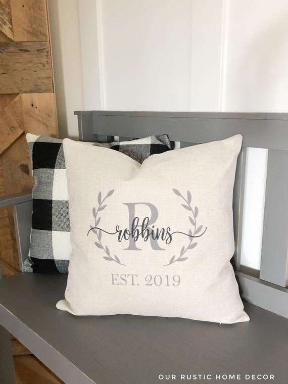 Farmhouse Monogram Pillow Covers - Wedding Gift Pillows with Personalized Name & Established Date Custom Throw Pillow Rustic Wedding Decor