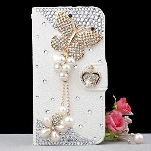 info for b4278 825bf nice White Luxury 3D Fashion Handmade Bling Diamond PU Flip Leather ...