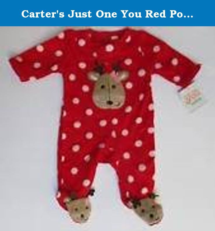 b4db4fbbe Carter s Just One You Red Polka Dot Reindeer Christmas Footed ...