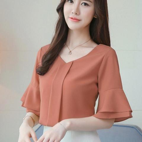 9a388622b33 Women Tops And Blouses 2018 Summer Chiffon Blouse Short Flare Sleeve  Fashion Ladies Shirts Casual Blusa Feminina Tops Lady Shirt