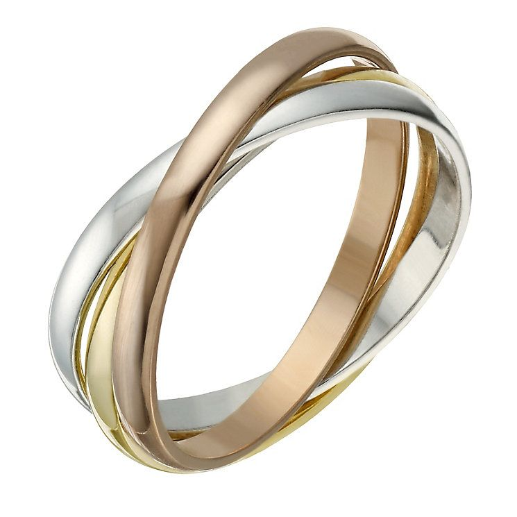 e22042ecbb0a05 9ct Gold 2mm 3 Colour Russian Wedding Ring - Product number 1690612 ...