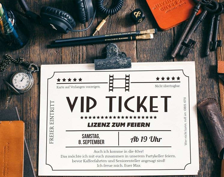kostenloses vip-kinoticket zum ausdrucken | geburtstagsvorlagen, Einladungsentwurf