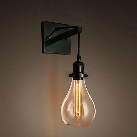 Purelumetm Retro Industrial Tearbulb Wandleuchte Wandlampe Mit Glaskuppel Und Edison T18 Tube 40w Gluhbirne Applique Murale Design Luminaire Luminaire Chambre