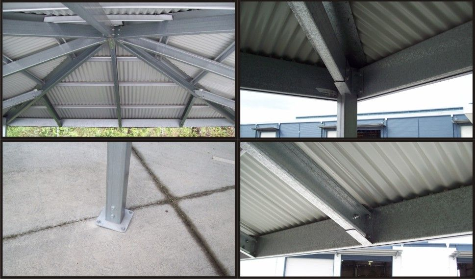Internal structure for Hip Roof Carport showing steel frame, roof ...