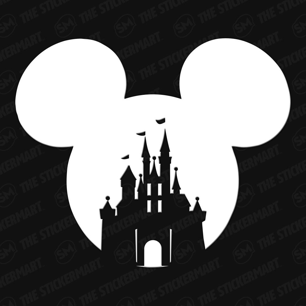 Mickey Head Castle Vinyl Decal Disney Decals Disney Silhouettes Disney Scrapbook [ 1000 x 1000 Pixel ]
