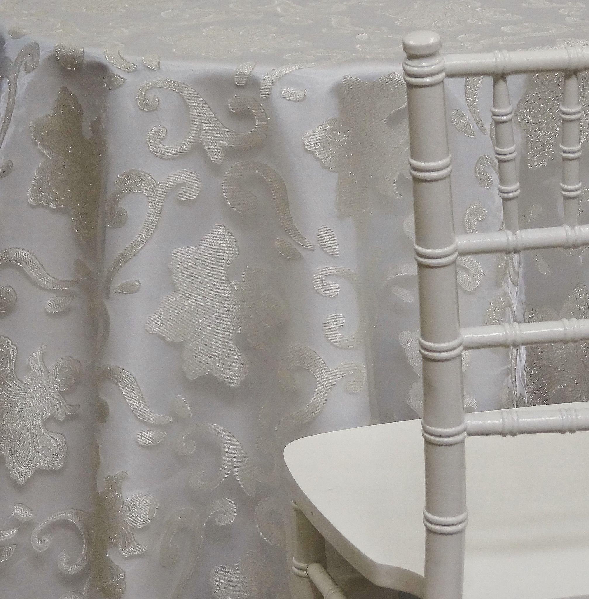 Merveilleux Fleur De Lis Tablecloth   Ivory