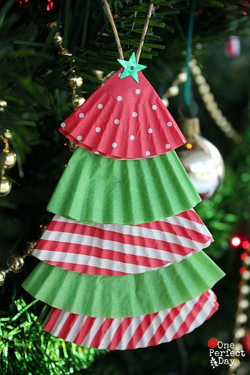 Cupcake Liner Christmas Tree Ornament Christmas Ornaments Homemade Christmas Tree Crafts Christmas Crafts