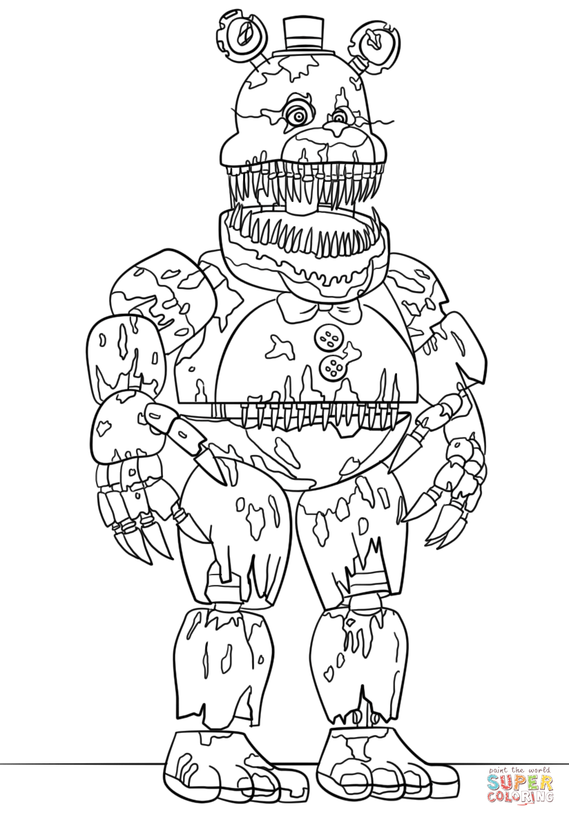 Nightmare Freddy Coloring Page Free Printable Coloring Pages In 2020 Fnaf Coloring Pages Animal Coloring Pages Coloring Pages