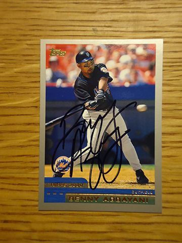 Benny Agbayani: (1998-2001 New York Mets) 2000 Topps baseball card signed in black sharpie. (From my All-Time Mets Roster collection.)