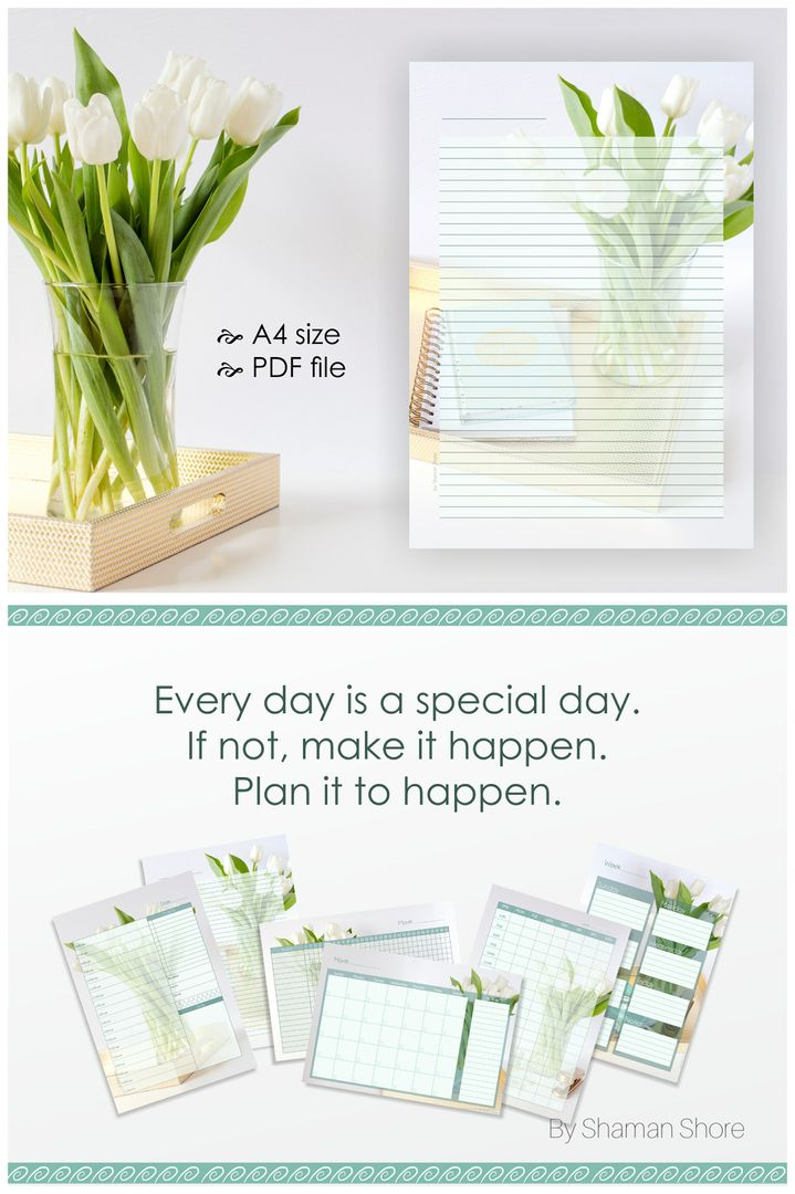 Lined Diary Pages A4 Color Flowers Paper Printable Digital Pdf Download Templates Flower Theme