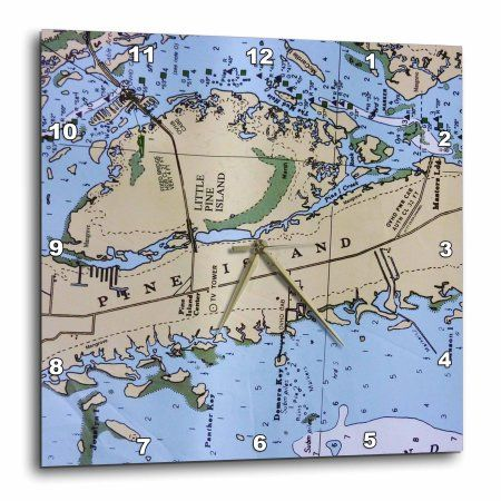 3dRose Nautical Chart II, Wall Clock, 13 by 13-inch