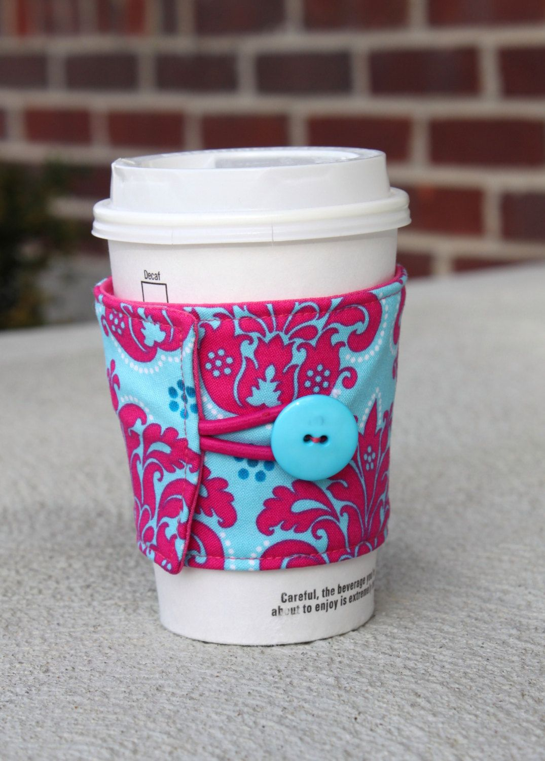 Damask coffee cup sleeve by ck stitches reusable cup