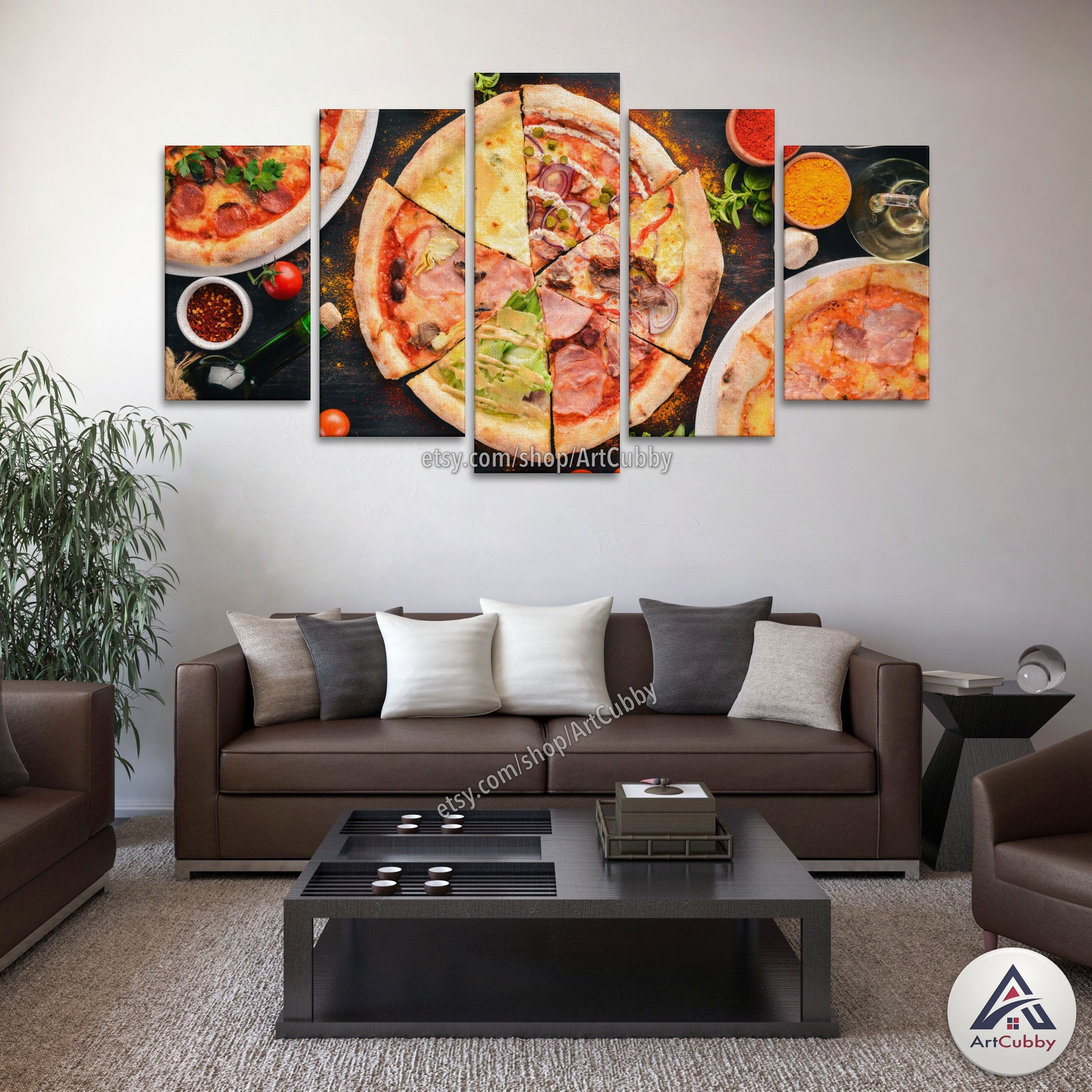 Fresh pizza slices canvas set multi panel hd canvas wall print home
