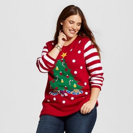 Women's Plus Size Tree Tunic Sweater - Ugly Christmas Sweater ...