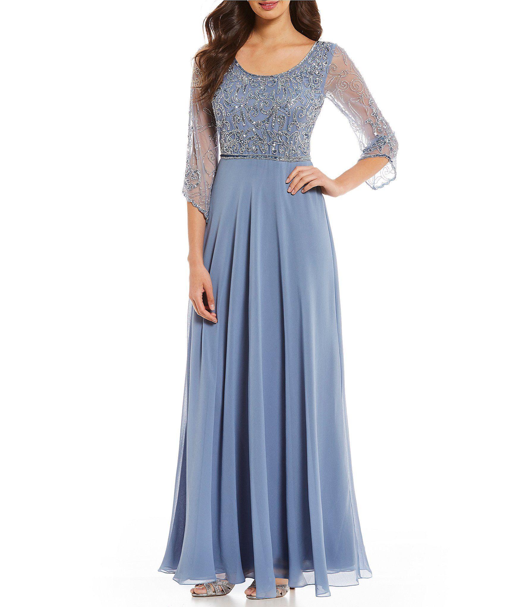 51712dba42 Jkara Petite Scoop Neck Sequin Beaded Bodice Gown  Dillards ...