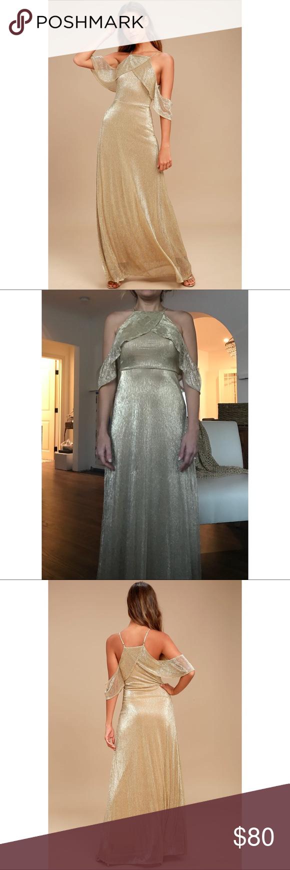 Shine bright gold off the shoulder maxi dress in my posh