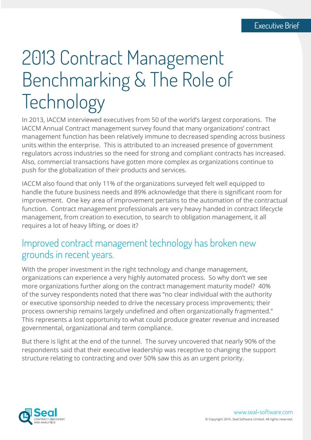 Contract Management Benchmarking And The Role Of Technology
