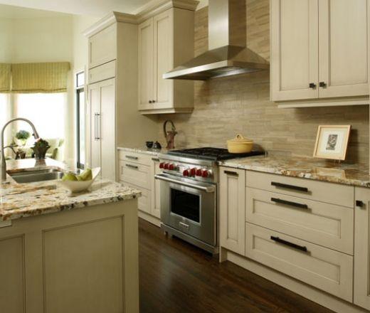 Transitional Island Style Cream kitchen, white cabinets ...