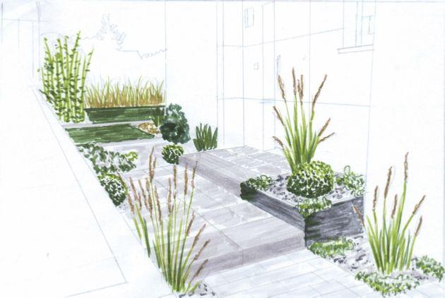 Croquis de jardin en ligne, pour petit jardin, terrasse, entrée