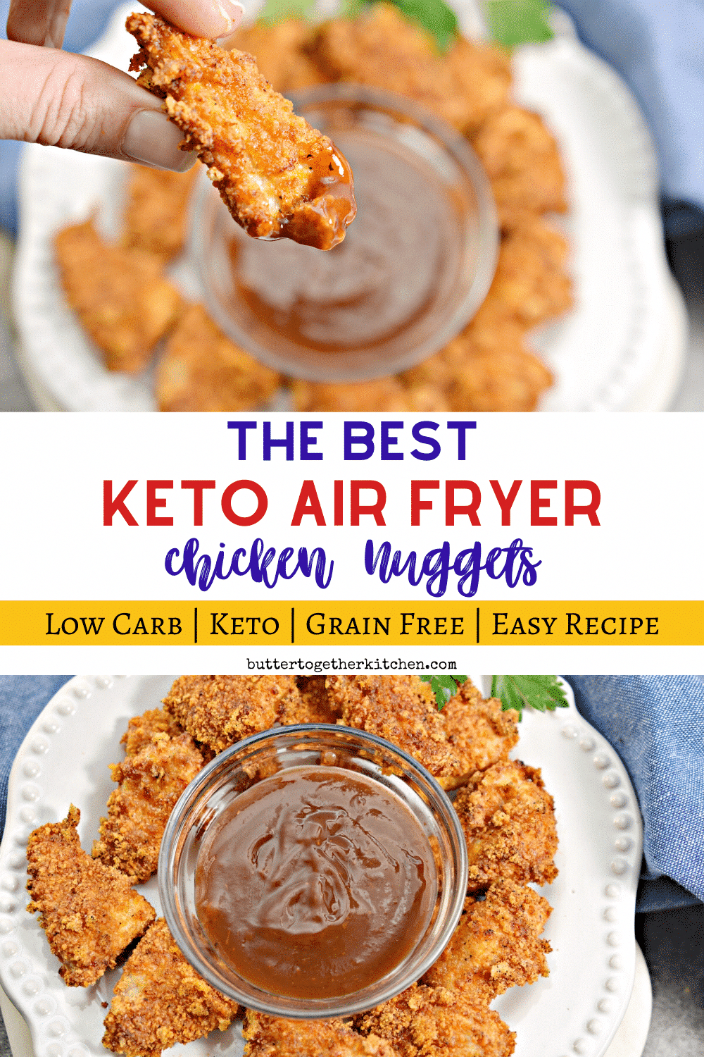 These Air Fryer Keto Chicken Nuggets are SO juicy, crispy