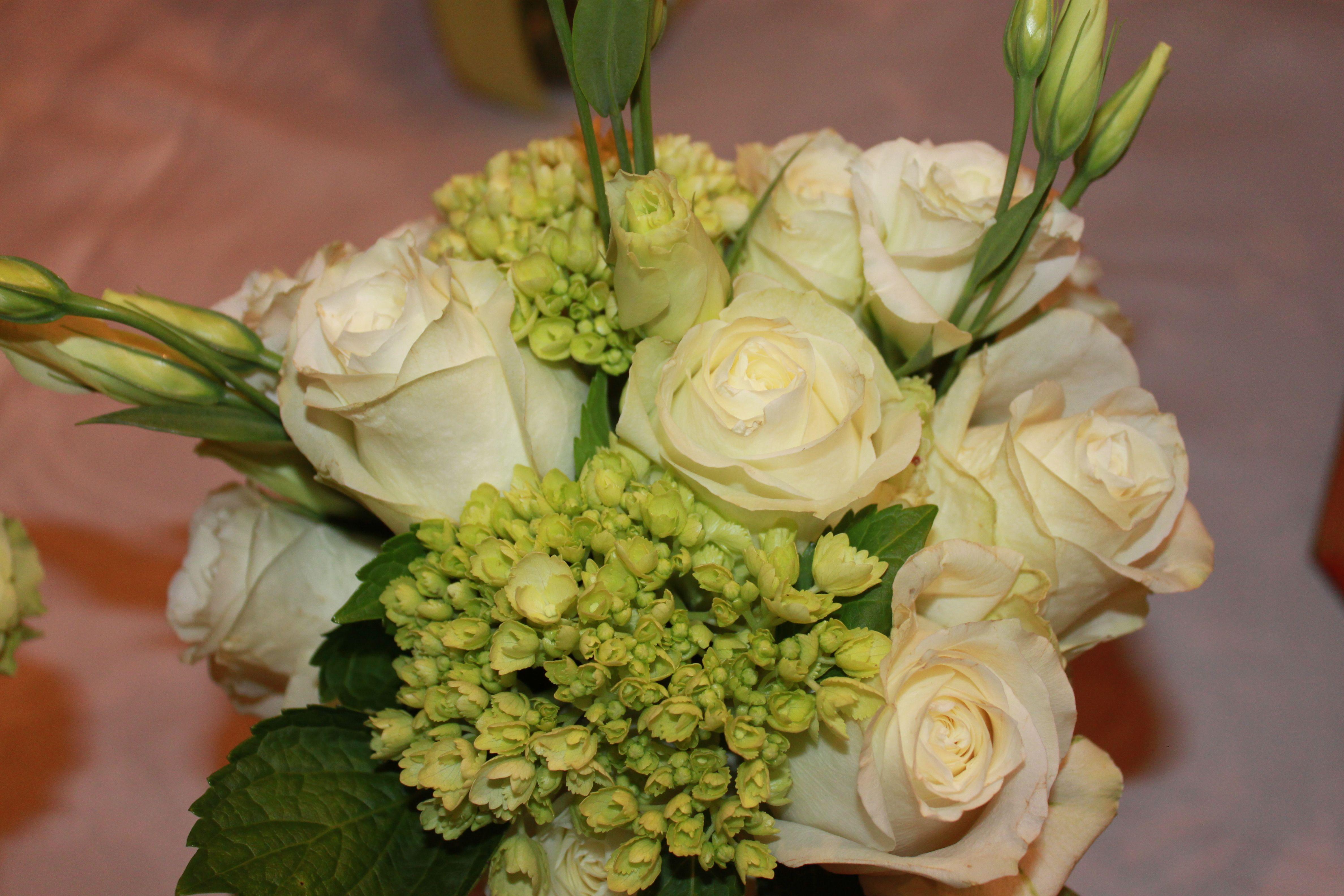 white roses, green hydrangea, & lisianthus