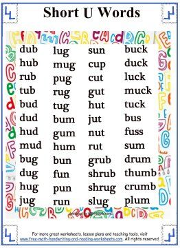Printable word lists showing easy 3 to 4 letter words that use the