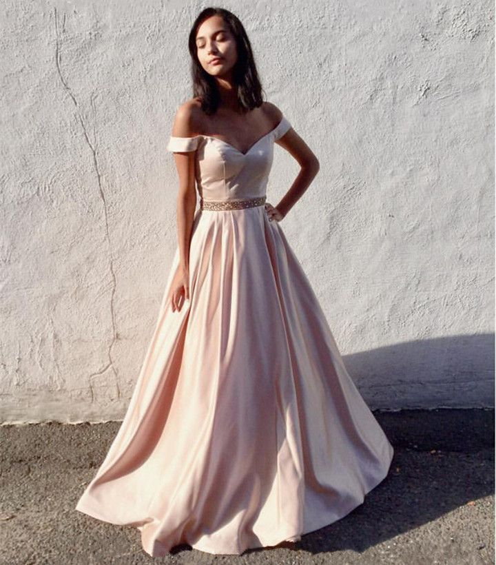 01e66f2934 light pink satin-v neck off the shoulder prom dresses 2018 sexy long  evening gowns
