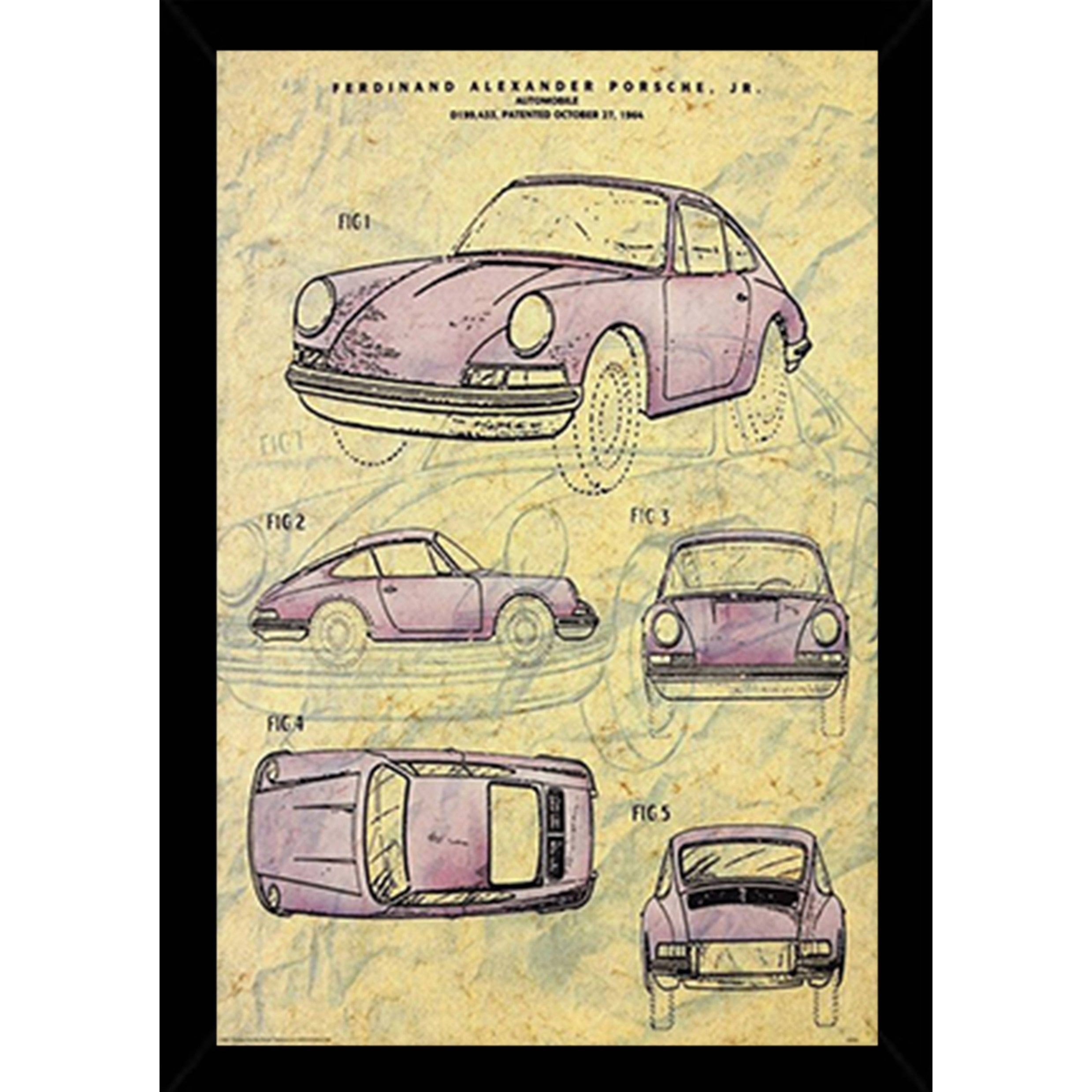 Vintage Porsche Patent Poster With Choice of Frame | Products ...