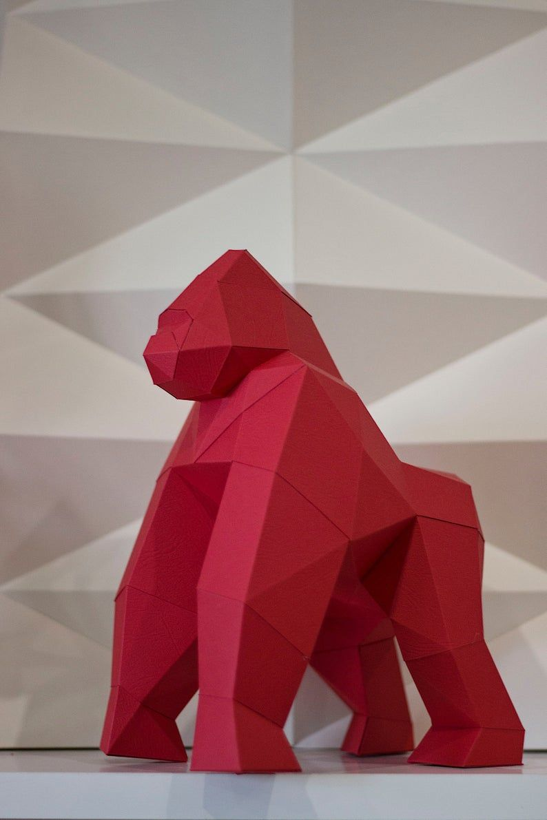 Papercraft 3d Monkey Gorilla Low Poly Paper Sculpture Diy Gift Etsy In 2020 Paper Sculpture Diy Gifts Etsy Paper Crafts