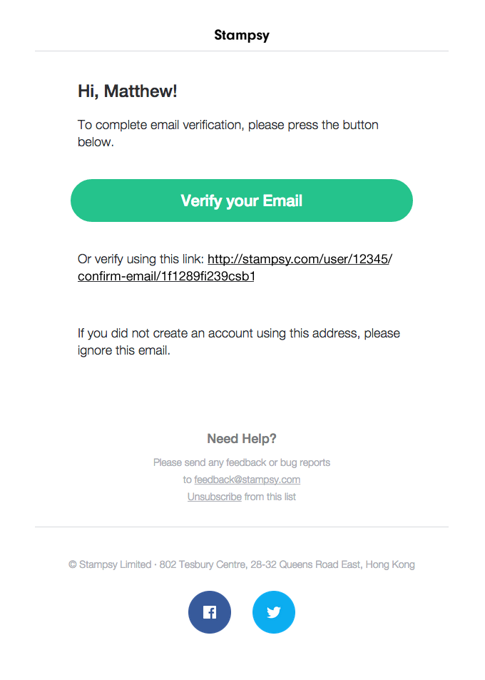 Stampsy Email Verification  Newslettter    Email