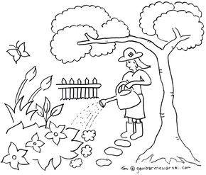 Mewarnai Taman Bunga Warna Halaman Mewarnai Dan Buku Mewarnai