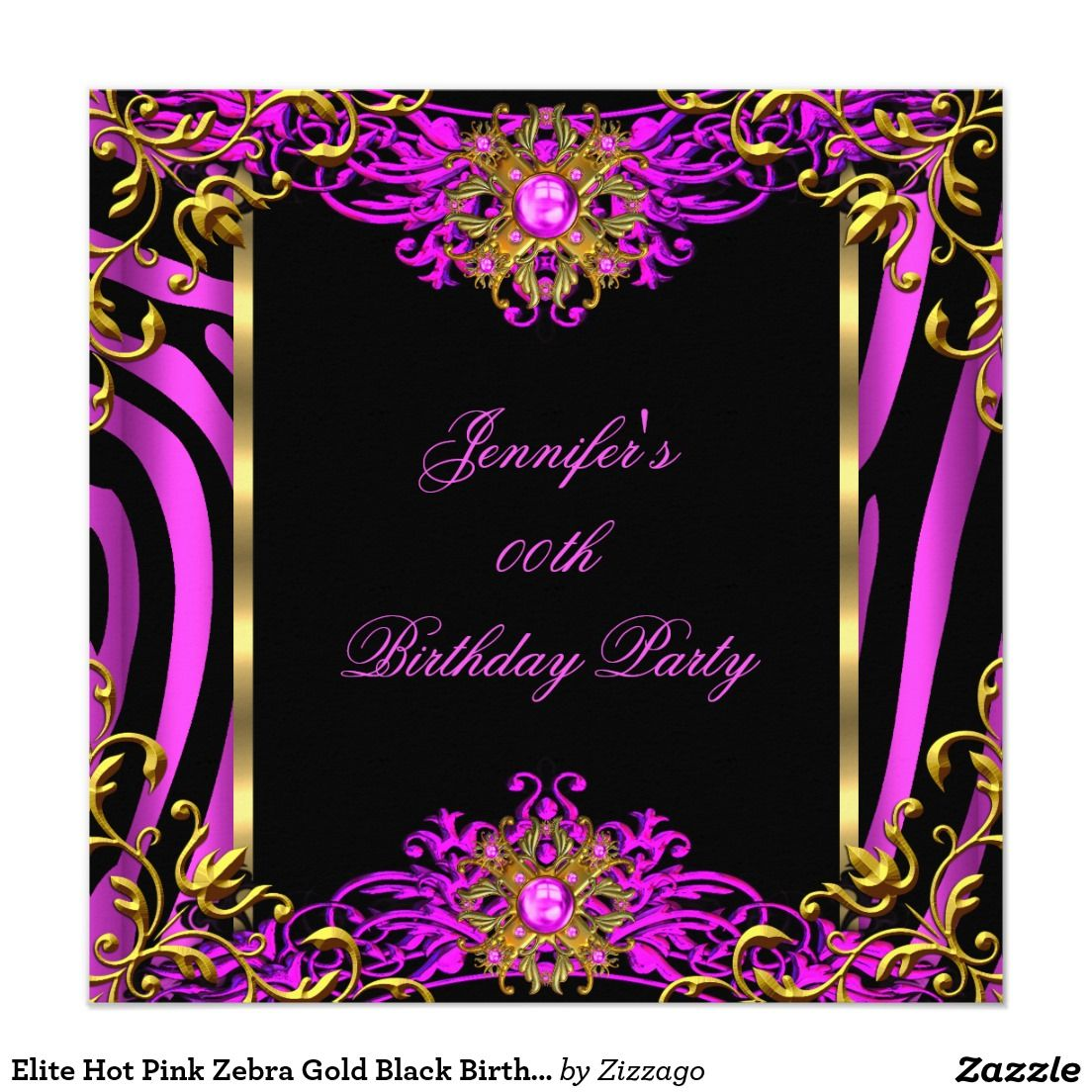 Elite Hot Pink Zebra Gold Black Birthday Party Invitation