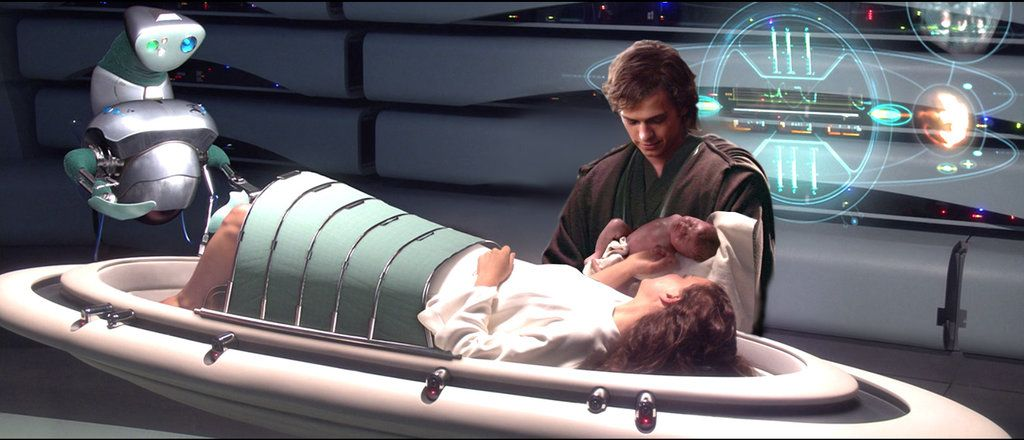 Anakin Padme At The Birth Of Their Children By Angelus69gitano