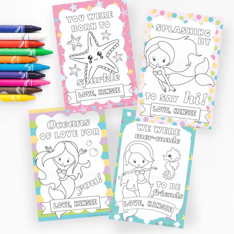 Printable Mermaids Valentine S Cards Set Of 8 In 2020