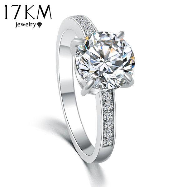 17 키로메터 2016 패션 디자인 우아한 럭셔리 매력 오스트리아 크리스탈 지르콘 반지 웨딩 약혼 신부 보석 반지