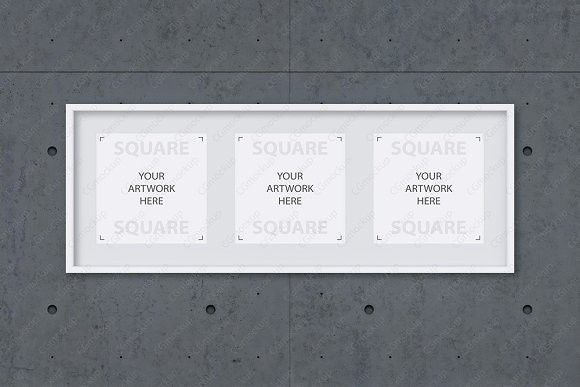 triple white square frame mockup - White Square Frames