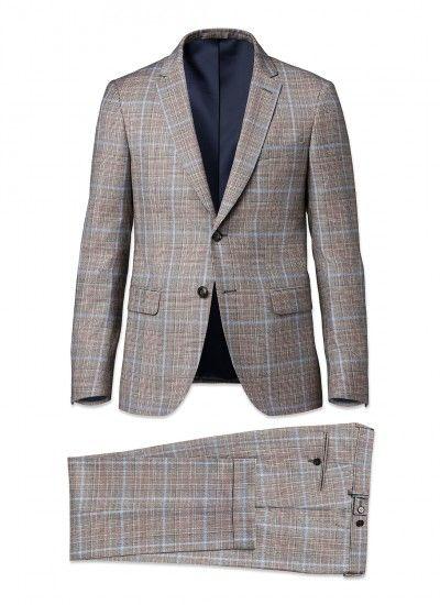 Costume slim fit - Flanelle de laine iTravel - Gris - Prince de Galles  multicolores e428940a43e