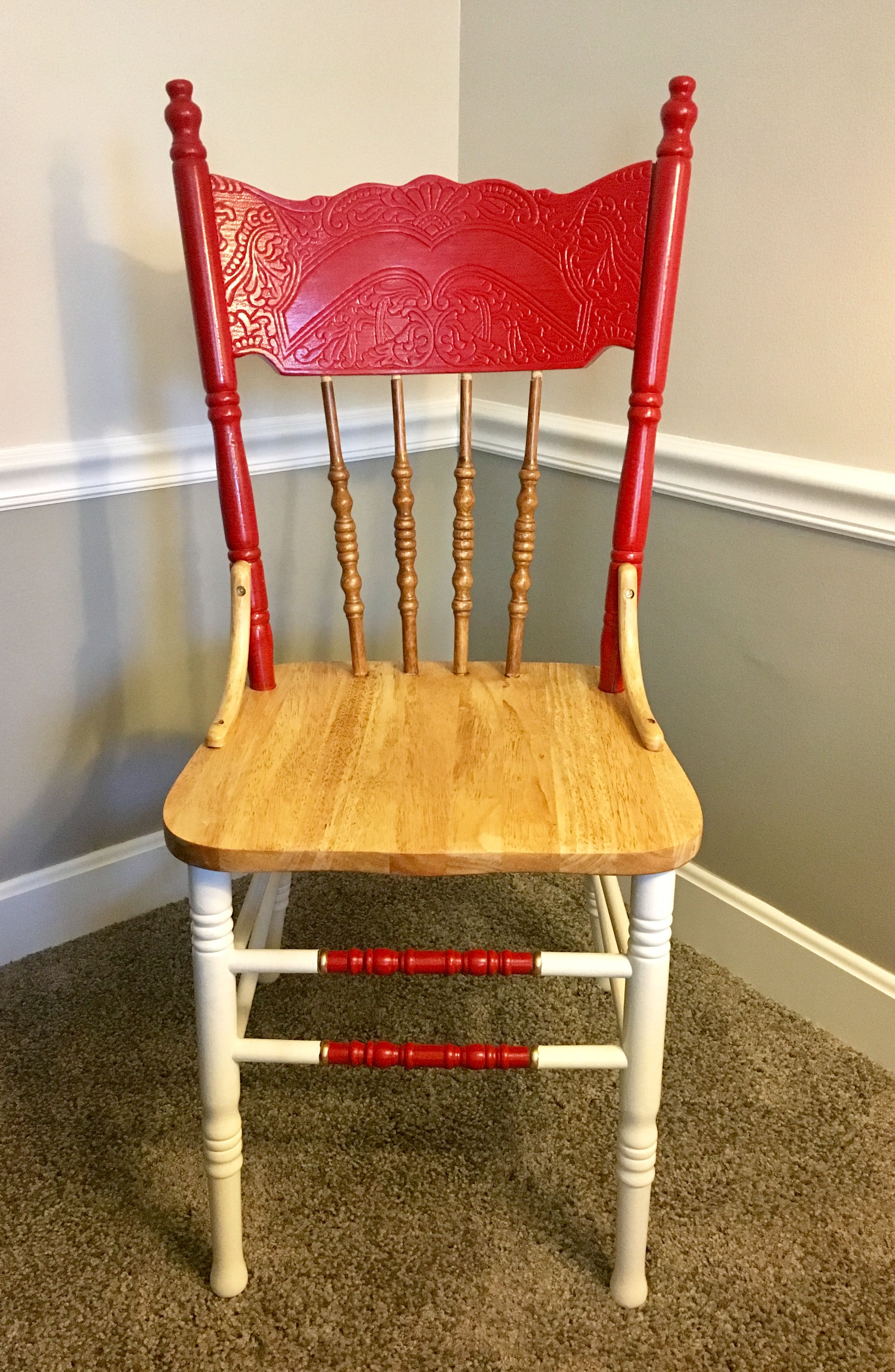 Antique farm wooden chair refinished with antique white golden and red colors ? & Antique farm wooden chair refinished with antique white golden and ...