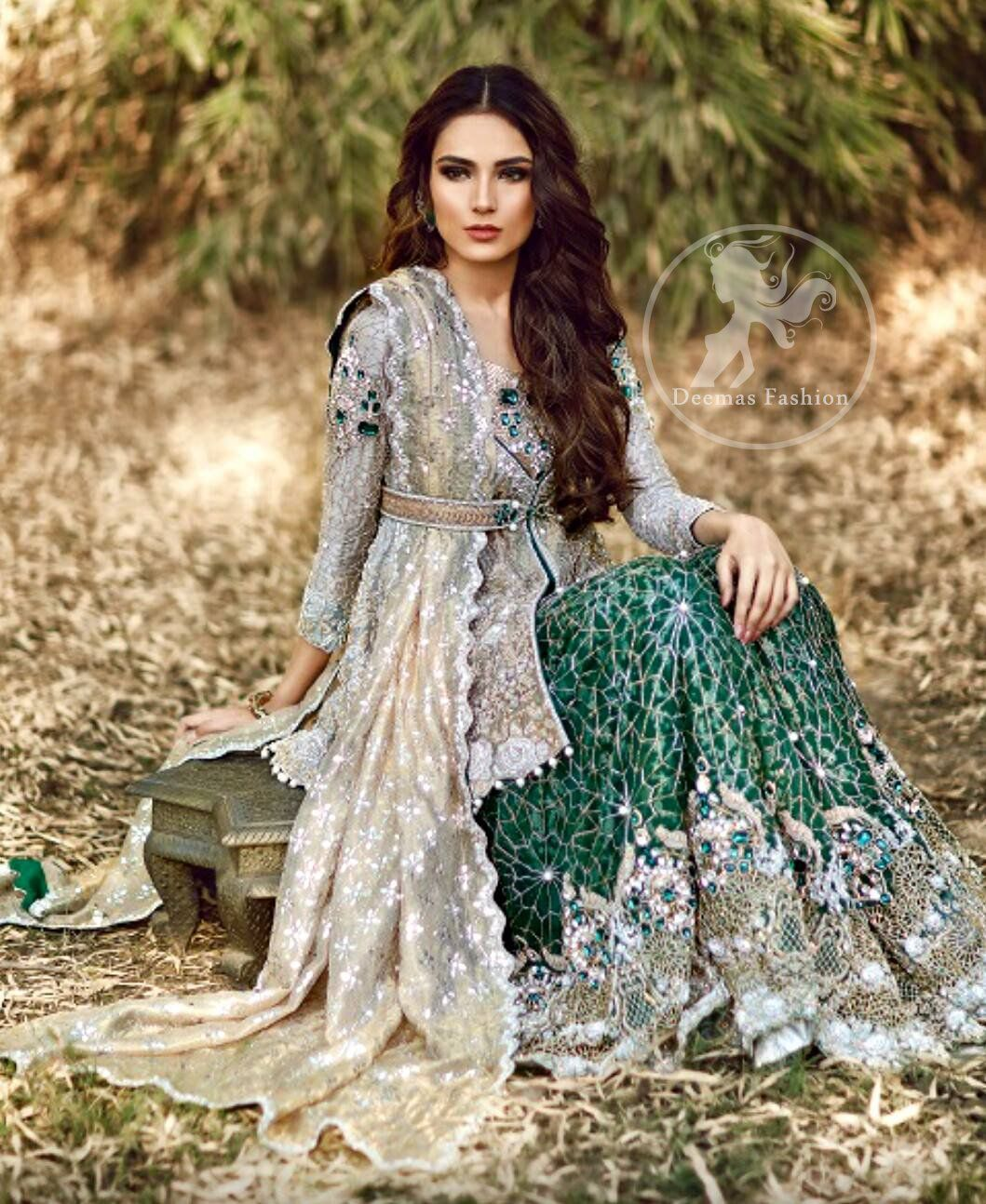 1d52d1000c Light Fawn Short Shirt - Bottle Green Bridal Lehenga Pakistani Bridal Wear, Pakistani  Dresses,