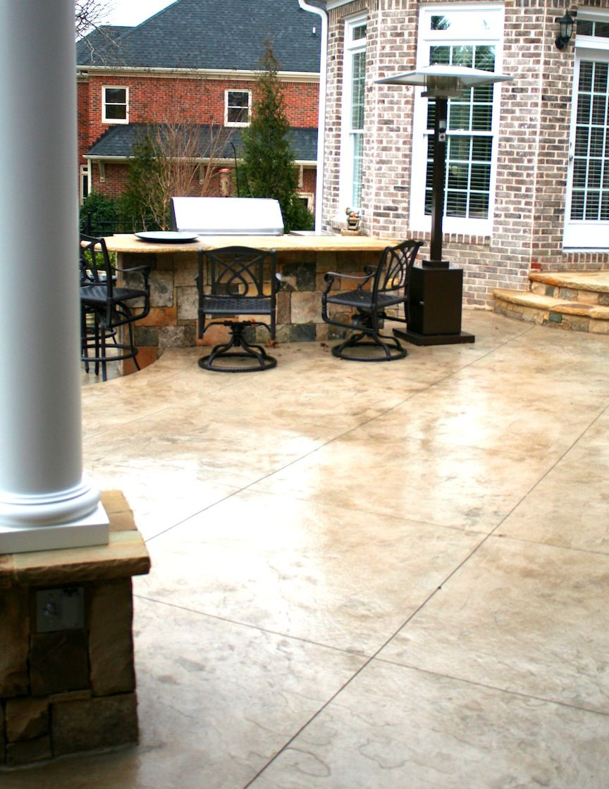 Cement Patio Designs Stained Concrete Floor Designs: Stamped Concrete Patio With Outdoor Kitchen